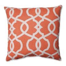 Pillow Perfect Lattice Damask Tangerine 16.5-inch Throw Pillow - £13.57 GBP