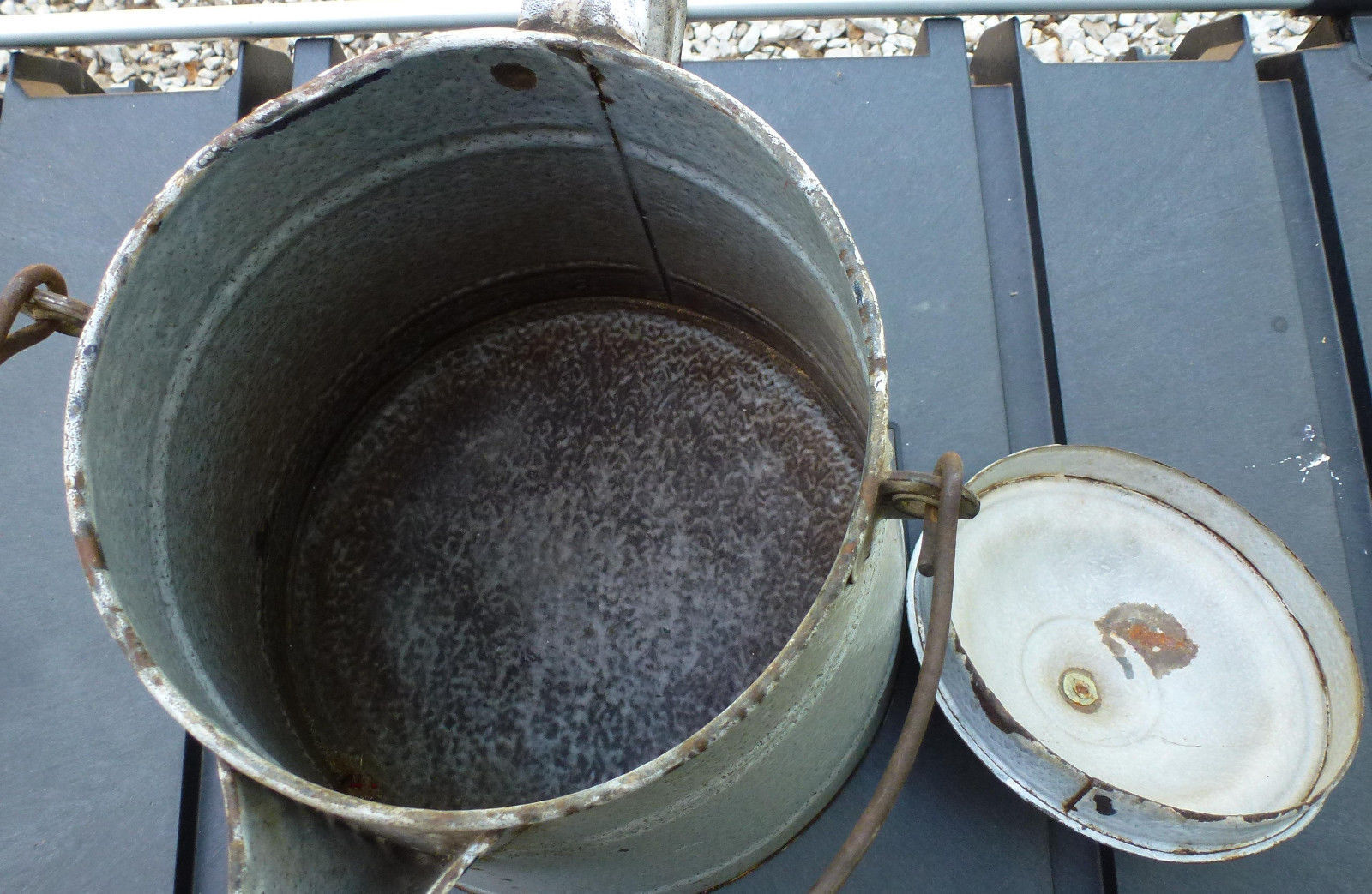 Vintage Gray Enamel Pot hot water coffee teapot kettle granite camp stove fire