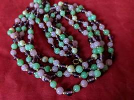 Beautiful Vintage Pink Green Bead 4 Strand choker Necklace - $29.99