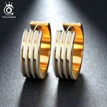 OrsaJewels® Lead & Nickel Free Gold-Color Hoop Earrings Classic Engagement - $5.76