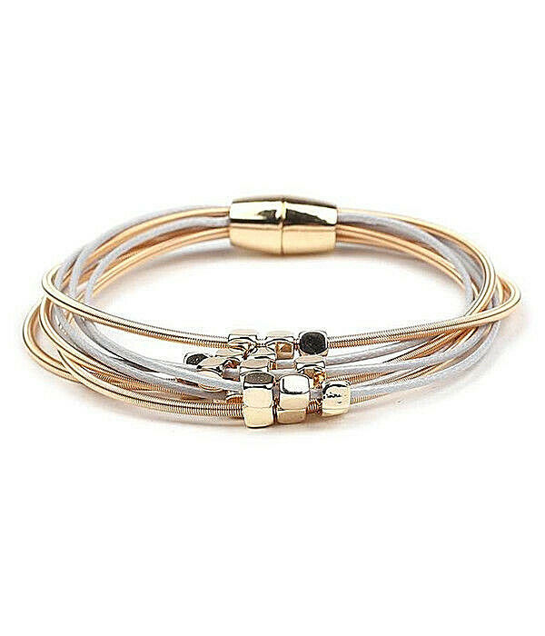 Primary image for Multi Cord Bead Bracelet Sterling Silver and Copper NEW