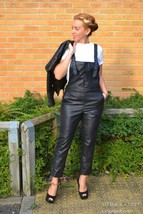 Vintage Halter Strap Women Genuine Leather Cocktail Party Outdoor Jumpsuit-JW30