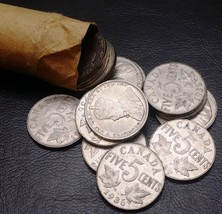 Roll of 40x 1936 Canada 5 Cent Nickels - Circulated - Great Coins - $14.55