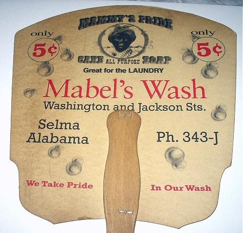 RARE-ADVERTISING FAN-MABELS WASH,SELMA,ALABAMA-SWEET BLACK G