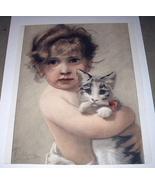Beautiful Antique 1890 COLOR Engraving-Sweet Baby Girl Huggi - $119.00