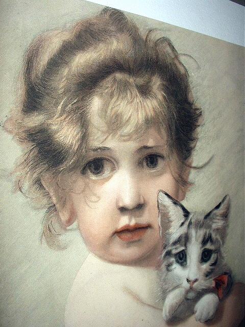 Beautiful Antique 1890 COLOR Engraving-Sweet Baby Girl Huggi