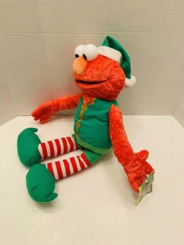 "Elmo Rare Vintage Christmas Elf Sesame Street Mattel Plush 2007 18""H tag image 3"