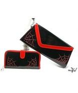 Sourpuss Red & Black Spider Web Clutch & Matching Wallet - Goth Punk Roc... - $48.00