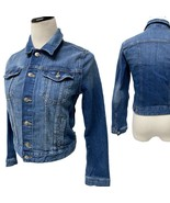 H&M women's jean jacket button front long sleeve blue size 8 - $19.69