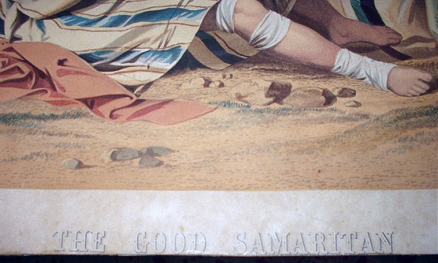 Late 1800s Antique Chromolithograph Print-THE GOOD SAMARITAN