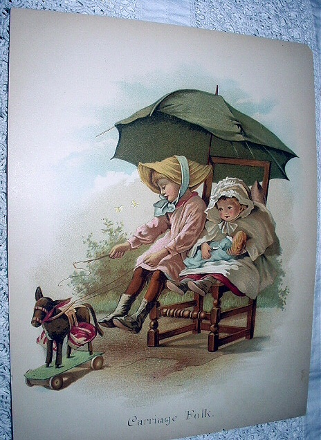 1800s Chromolithograph-CARRIAGE FOLK-Two Girls Playing Ridin