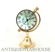 Handmade Shiny Brass Clock Collectible Table Top Decorative Clock Vintag... - £17.19 GBP