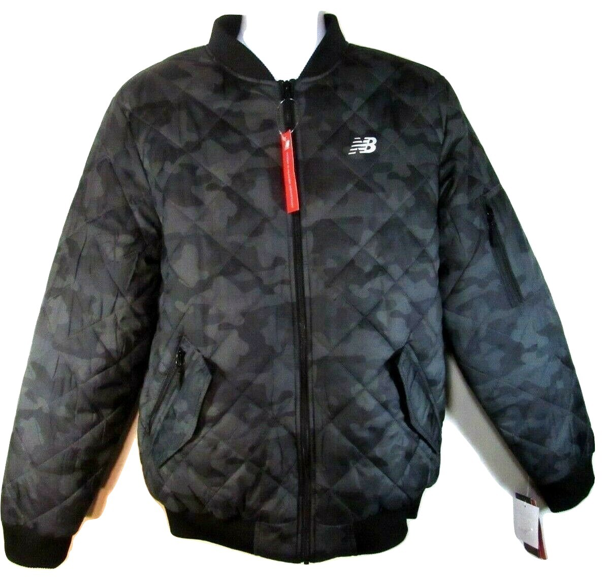 NEW BALANCE MEN'S BLACK PRINTED QUILTED BOMBER FULL ZIP JACKET, #NBMJ8231-OLC - $69.99