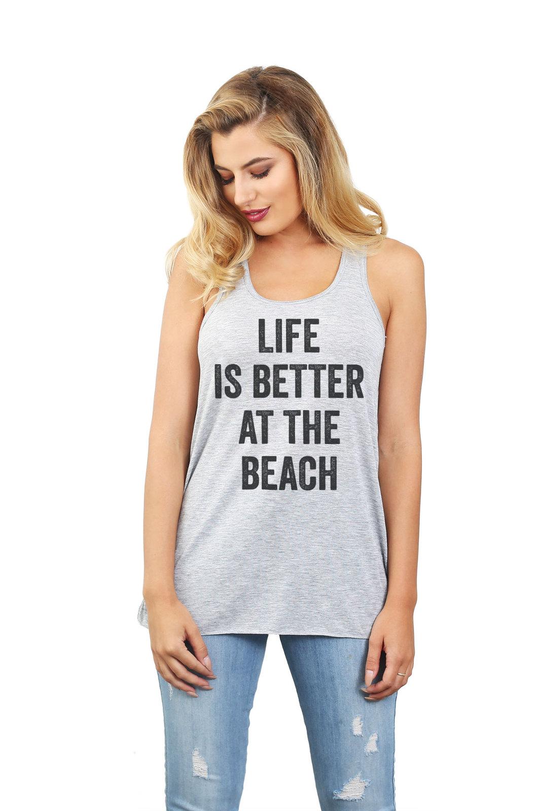 Thread Tank Life Is Better Beach Women's Sleeveless Flowy Racerback Tank Top Spo
