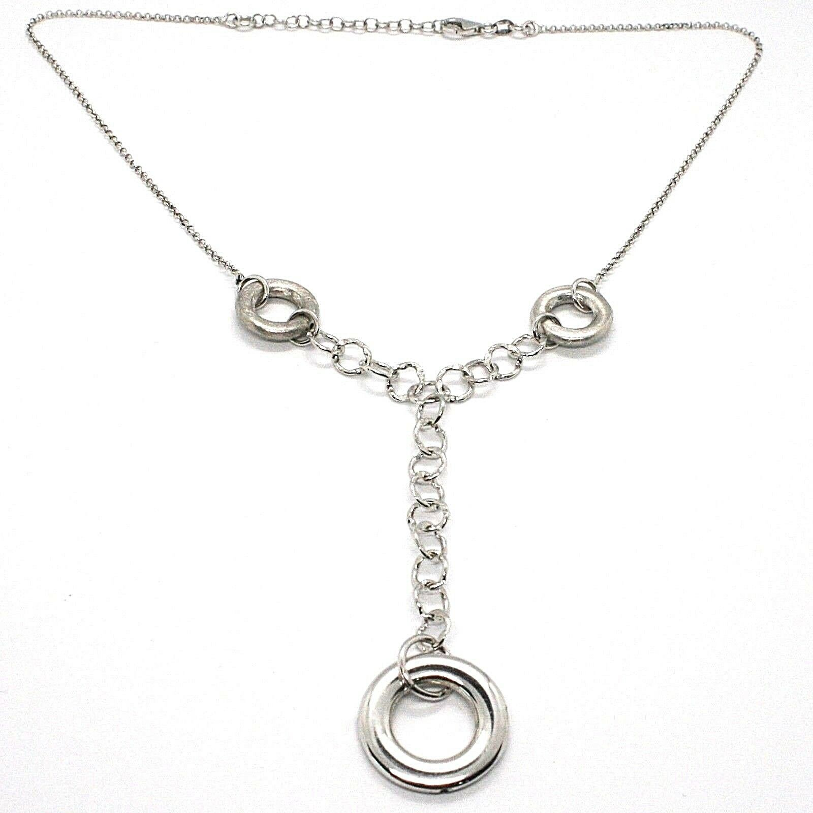 Necklace Silver 925, Chain Rolo ' , Circles Hanging, Worked and Hammered