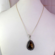 Tiger's Eye Stone Silver Plated Best Quality Pendant With Chain/Necklace RS-15-1 - $8.09