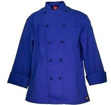 NWT Dickies CW070302 Cobalt Blue Executive Chef Coat 34-50 Twill Stretch - $18.99