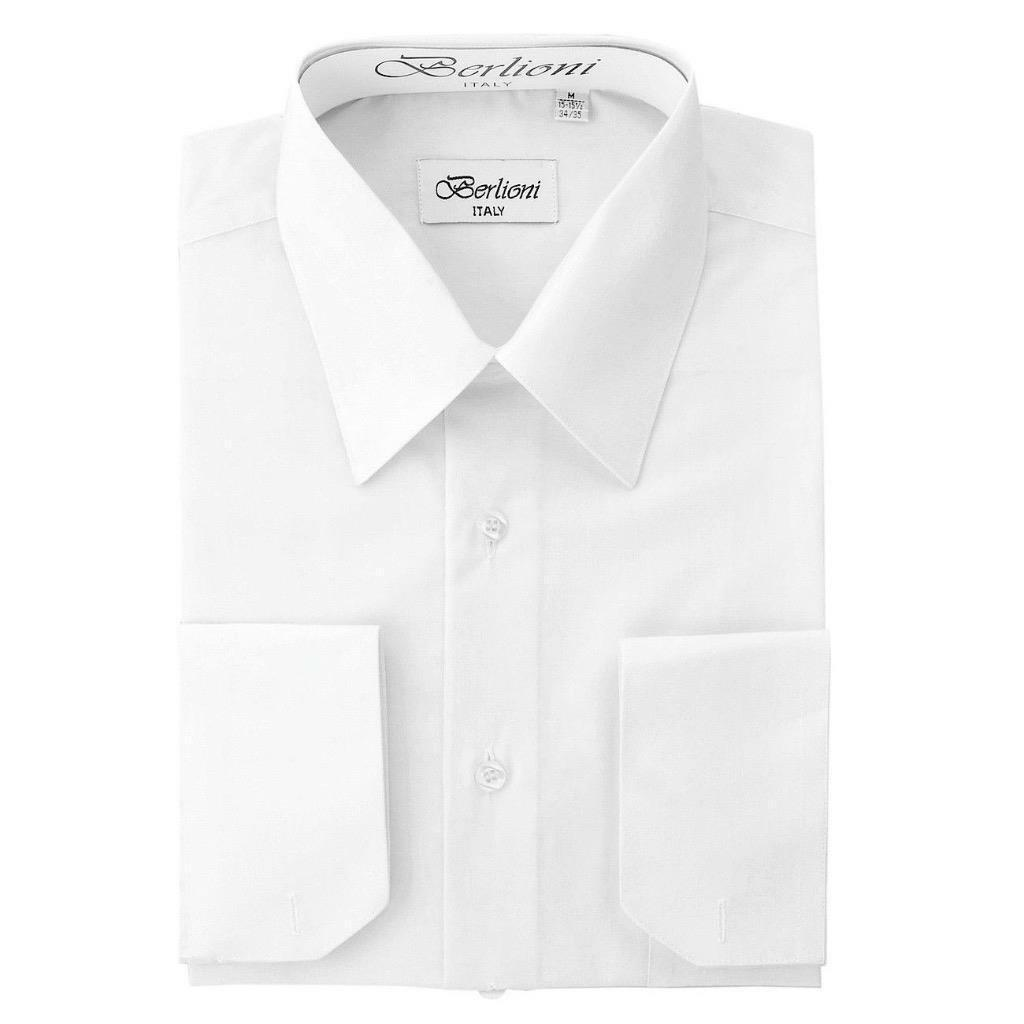 BERLIONI ITALY MEN'S PREMIUM FRENCH CONVERTIBLE CUFF SOLID DRESS SHIRT WHITE