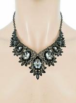 Klassisch Vintage Inspiriert Abend Kette Ohrringe Schwarz Kristall Modeschmuck - $33.21