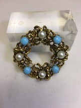 Vintage Signed Made Austria Faux Pearl Turquoise Circle Pin Goldtone Brooch - $24.13