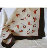 "Rayon equestrian design scarf 22""square horse race motif - $2.99"