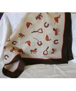 "Rayon equestrian design scarf 22""square horse r... - $2.99"