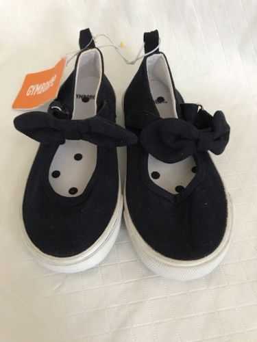 Primary image for Gymboree Black Flats Canvas Sports Child Girls Casual Sneakers w/Bows New Sz 10