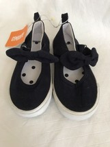 Gymboree Black Flats Canvas Sports Child Girls Casual Sneakers w/Bows Ne... - $22.76