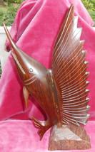 MARLIN SAILFISH FISH FIGURINE 14 1/2 IRONWOOD SCULPTURE WOOD HAND CARVED... - $46.27