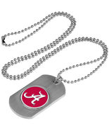 Alabama Crimson Tide Dog Tag Necklace with a embedded collegiate medallion - $11.40