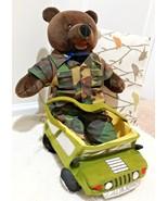 "1989 Bear Force Of America USMC Bear 21"" in uniform W/ Humvee jeep Plush... - $14.10"