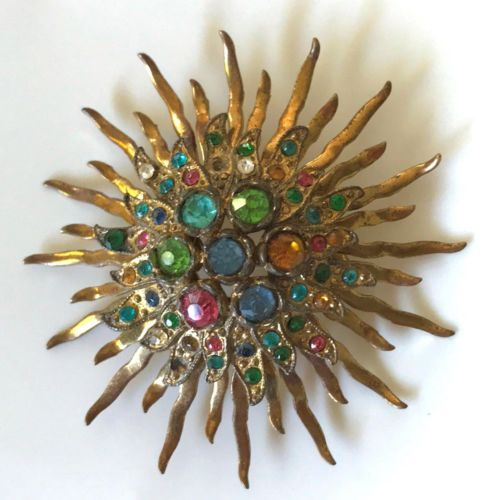 "Vintage Mod STARBURST 2.5"" Jeweled Gold Ton Multi Color Pin Brooch Mid Century"
