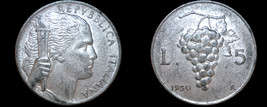 1950 Italian 5 Lire World Coin - Italy - Grapes - $8.99