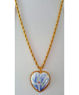 Fukagawa Porcelain Pendant-Hand Painted Floral on Gold & Sterling Rope C... - $29.99