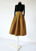 Women Black Houndstooth Skirt Winter Houndstooth Pleated Skirt Wool Party Skirt image 6