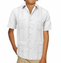 Boy's Guayabera Wedding Baptism Kids Junior Button-Up Casual White Dress Shirt