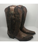 Durango Womens Western Cowboy Boots Brown Embossed Pull On Fringe 8 New - $95.88