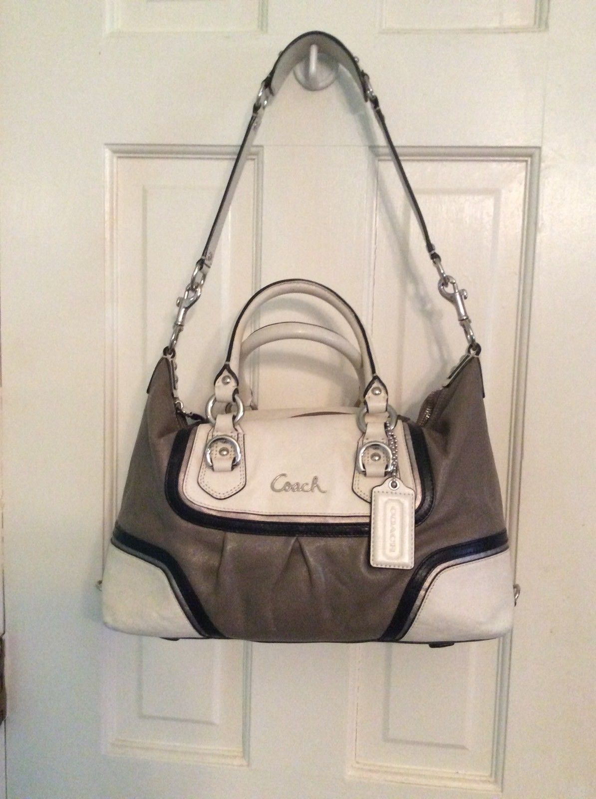 81c69b5991 women Coach Ashley Leather Cream brown Satchel Shoulder Bag Handbag Med