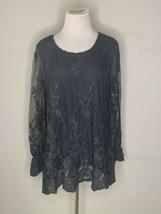 Soft Surroundings Womens Tunic Blouse Gray Sheer Mesh Embroidered Petite... - $39.95