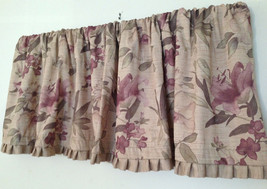 JC Penney Amethyst Floral Beige Ribbed Valance 80 x 21 Pleated Trim Oliv... - $24.74