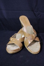 MICHAEL By Michael Kors Brown Open Toe Heeled MulesW/GoldToneDecor Size8... - $50.00
