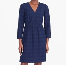 $120 NEW J Crew Navy Blue Cotton Eyelet Long Sleeve Dress Tunic 0 6 10 12 14 - $37.18+