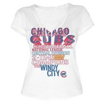 MLB  Woman's Chicago Cubs WORD White Tee with  City Words L - $15.99