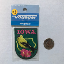 Iowa State Patch Iron On Vintage by Voyager American Goldfinch Rosa Arkansana - $6.65