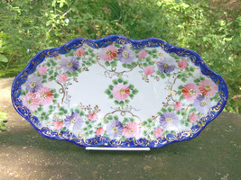 "Antique Nippon/Japan Cobalt-Trimmed Dish Hand-Painted Flowers & Gold 12""L - $50.00"