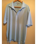 Peter Millar Mens Summer Comfort Golf Polo Shirt Rugby Short Sleeve Blue XL - $26.03