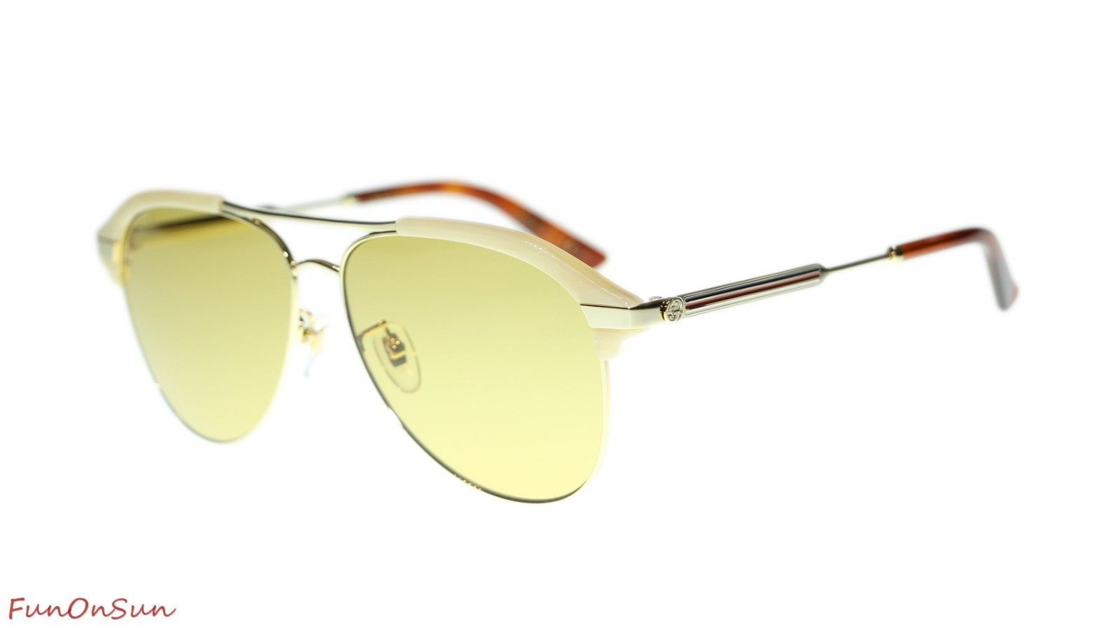 4cf4f03b977 10. 10. Previous. Gucci Men Sunglasses GG0288SA 004 Beige Gold Brown Lens  Aviator 60mm Authentic