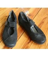 Mephisto 7 Black Nubuck Leather Low Wedge Mary Jane Comfort Heels - $30.40