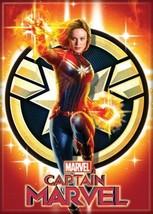 Captain Marvel Movie Figure Over Star Emblem Logo Refrigerator Magnet NEW UNUSED - $3.99