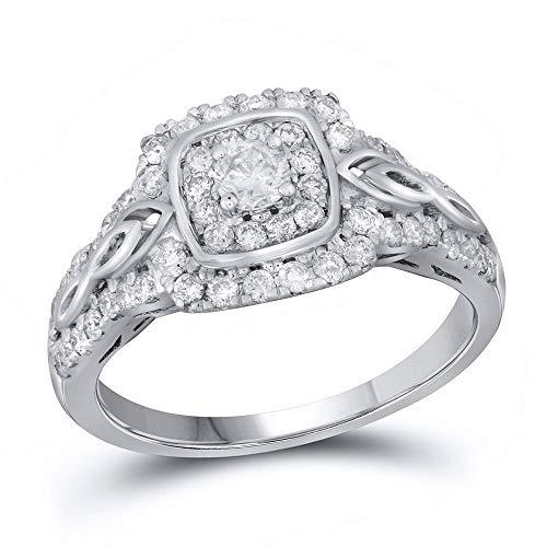Primary image for The Diamond Deal 14kt White Gold Womens Round Diamond Solitaire Bridal Wedding E